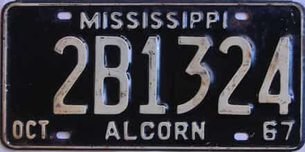 1967 Mississippi license plate for sale