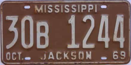 1969 Mississippi license plate for sale