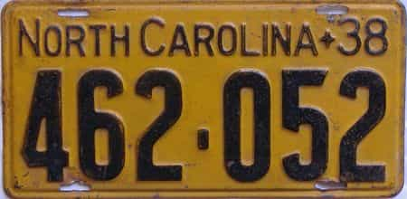 1938 North Carolina (Single) license plate for sale