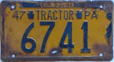 1947 Pennsylvania (Non Passenger) license plate for sale