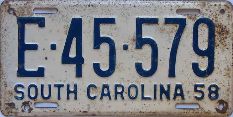 1958 South Carolina  (Single) license plate for sale