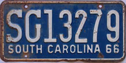 1966 South Carolina  (Single) license plate for sale