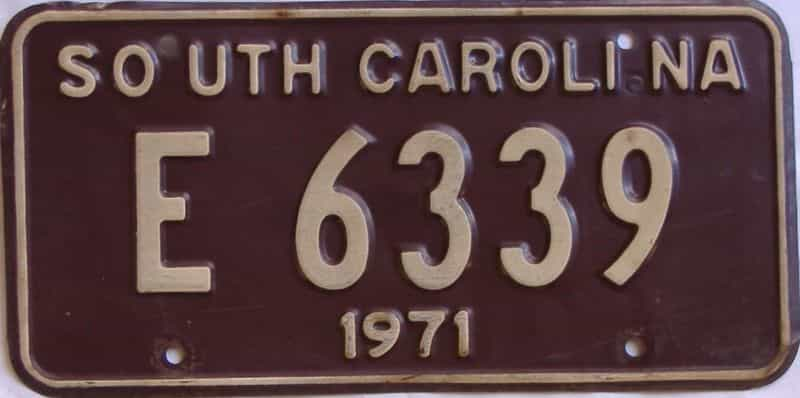 1971 South Carolina  (Single) license plate for sale