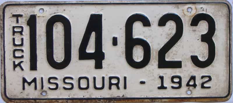 1942 Missouri  (Truck) license plate for sale