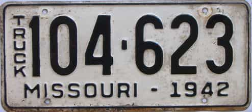 1942 Missouri  (Truck) license plate for sale