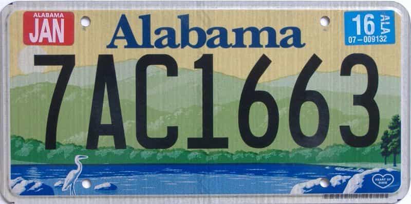 2016 Alabama license plate for sale