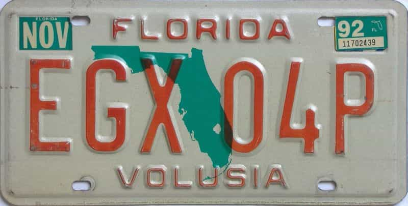 1992 Florida license plate for sale