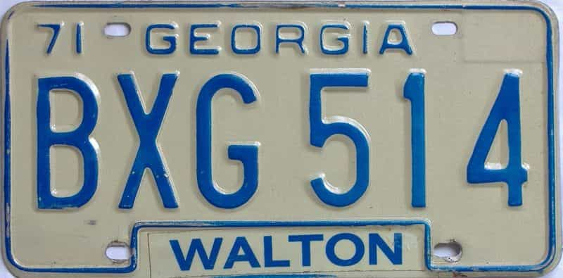 YOM 1971 Georgia license plate for sale