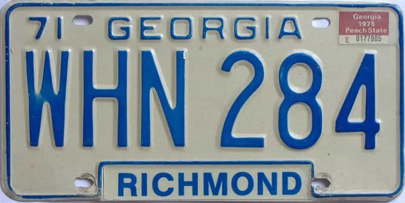 YOM 1975 Georgia YOM 1971 - 1989 license plate for sale