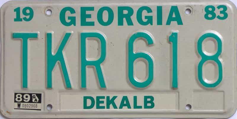 YOM 1989 Georgia YOM 1971 - 1989  (Natural) license plate for sale