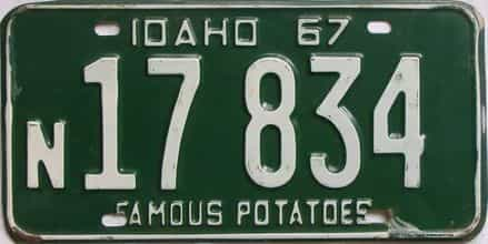 1967 Idaho (Single) license plate for sale