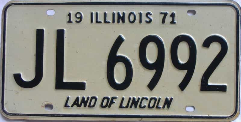 1971 Illinois  (Single) license plate for sale