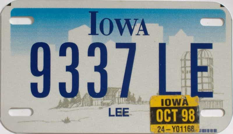 1998 Iowa  (Motorcycle) license plate for sale