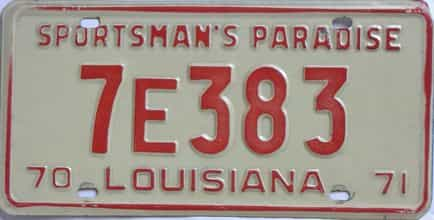 1970 Louisiana license plate for sale