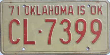 1971 Oklahoma license plate for sale