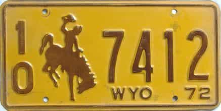 1972 Wyoming (Single) license plate for sale