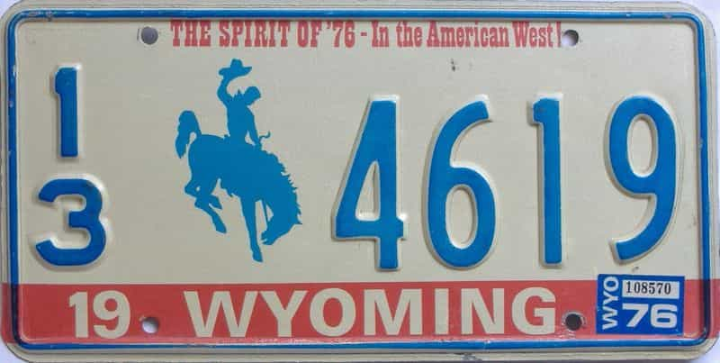 1976 Wyoming  (Single) license plate for sale