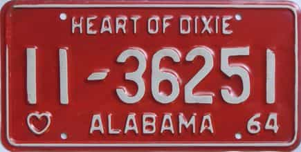1964 Alabama license plate for sale