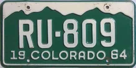 1964 Colorado (Single) license plate for sale