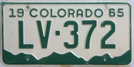 1965 Colorado (Single) license plate for sale