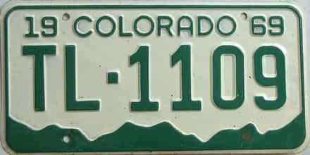 1969 Colorado (Single) license plate for sale