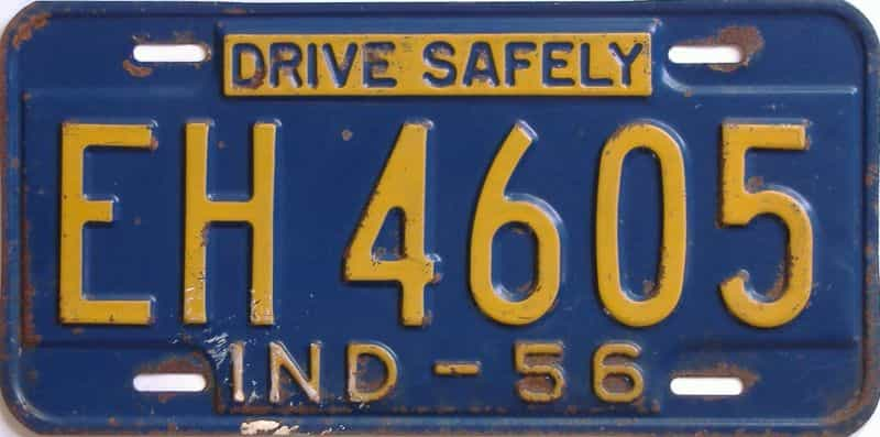 1956 Indiana license plate for sale