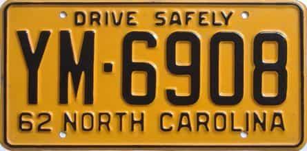 1962 North Carolina license plate for sale