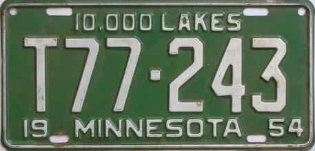 1954 Minnesota (Farm Truck) license plate for sale