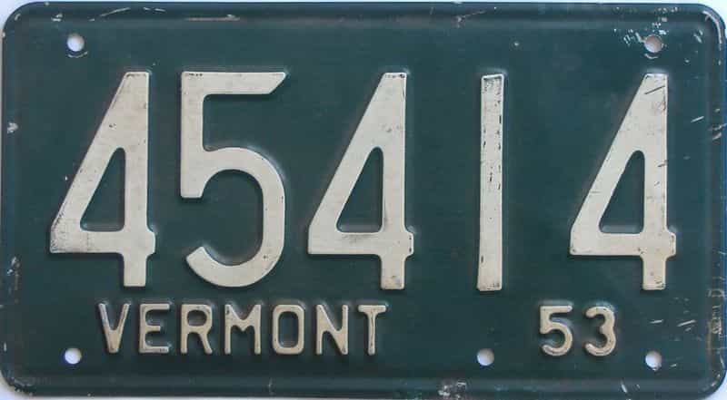1953 Vermont  (Single) license plate for sale