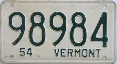 1954 Vermont (Single) license plate for sale