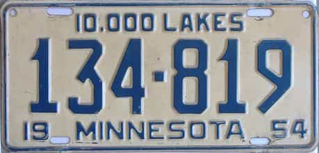 1954 Minnesota (Single) license plate for sale