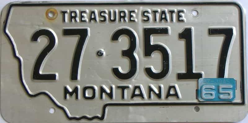 1965 Montana  (Single) license plate for sale