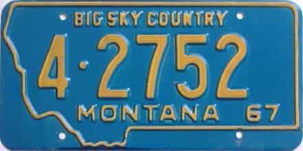 1967 Montana (Single) license plate for sale