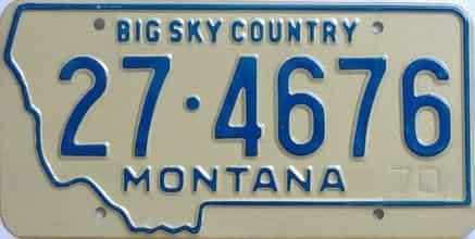 1970 Montana (Single) license plate for sale
