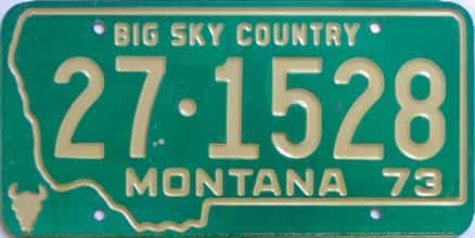 1973 Montana (Single) license plate for sale
