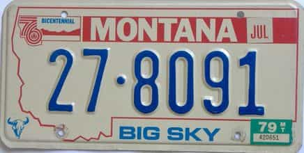 1979 Montana (Natural Single) license plate for sale