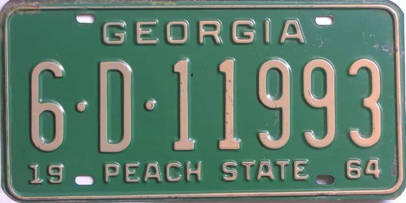 YOM 1964 Georgia (Richmond) license plate for sale