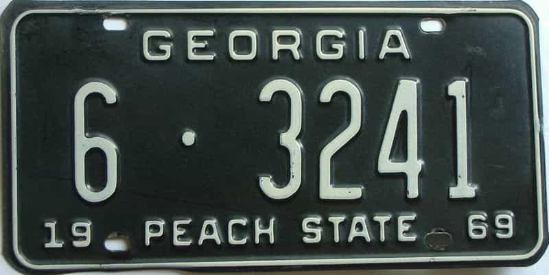 YOM 1969 Georgia (Richmond) license plate for sale