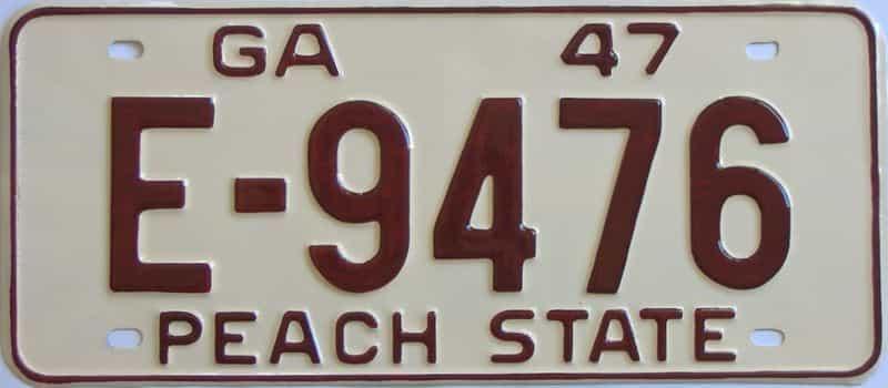 YOM RESTORED 1947 Georgia license plate for sale