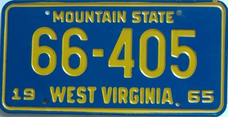 1965 West Virginia license plate for sale