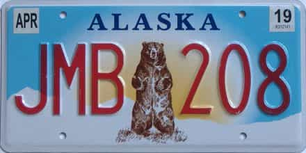 2019 Alaska (Single) license plate for sale
