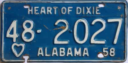 1958 Alabama license plate for sale