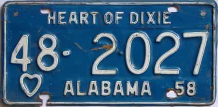 1958 Alabama license plate for sale