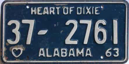 1963 Alabama (Single) license plate for sale