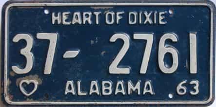 1963 Alabama (Single) license plate for sale