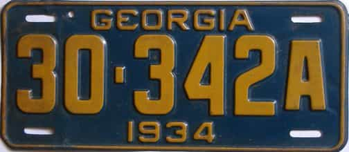 YOM 1934 Georgia (Single) license plate for sale