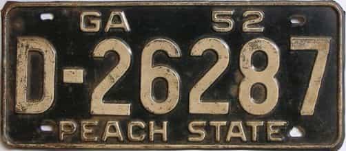 YOM 1952 Georgia license plate for sale