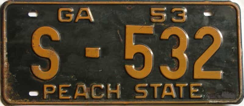 YOM 1953 Georgia license plate for sale