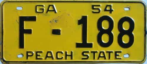YOM 1954 Georgia license plate for sale