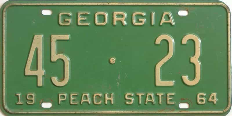 YOM 1964 Georgia (Washington) license plate for sale